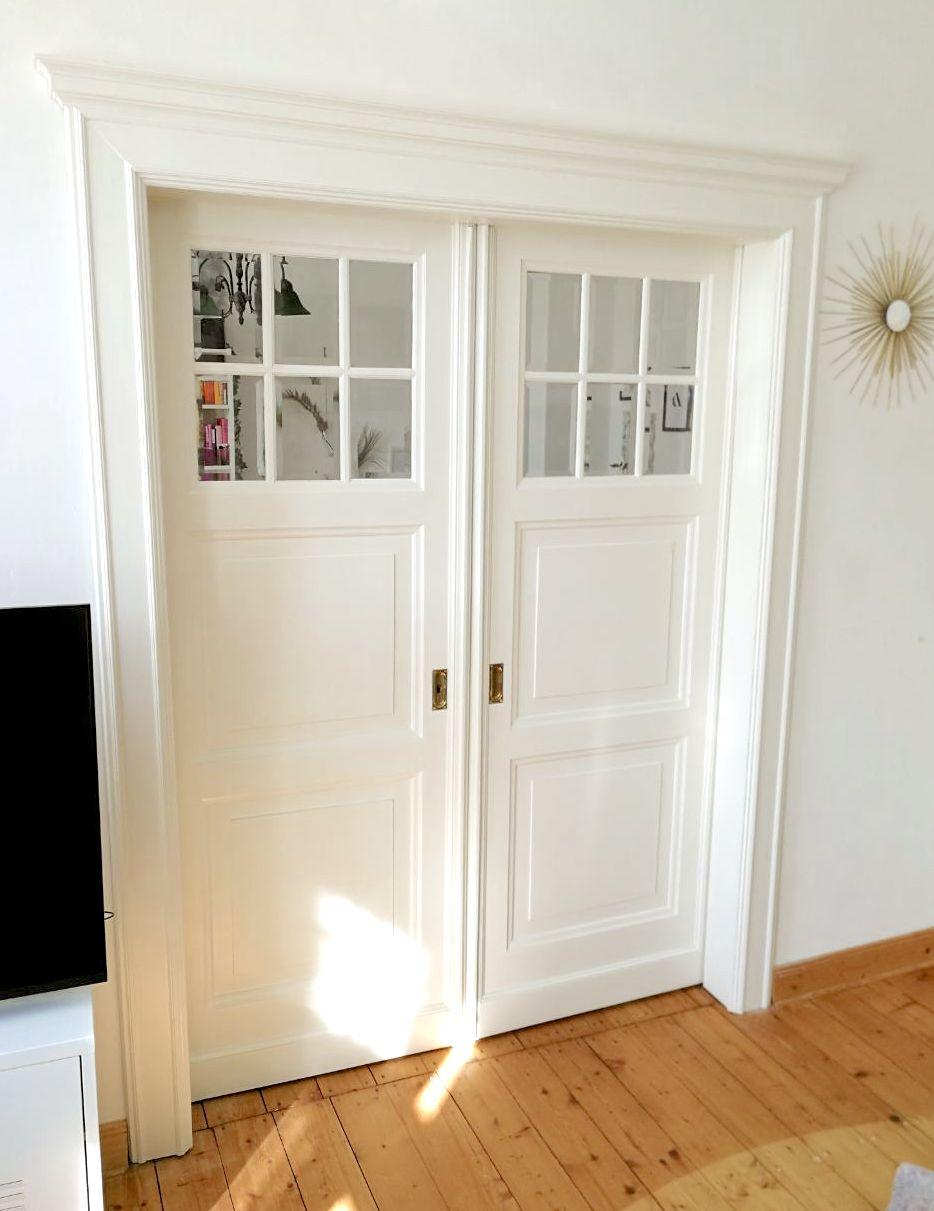 Aufarbeitung Tür Element, weiß lackiert, Schiebetür, Altbautür
